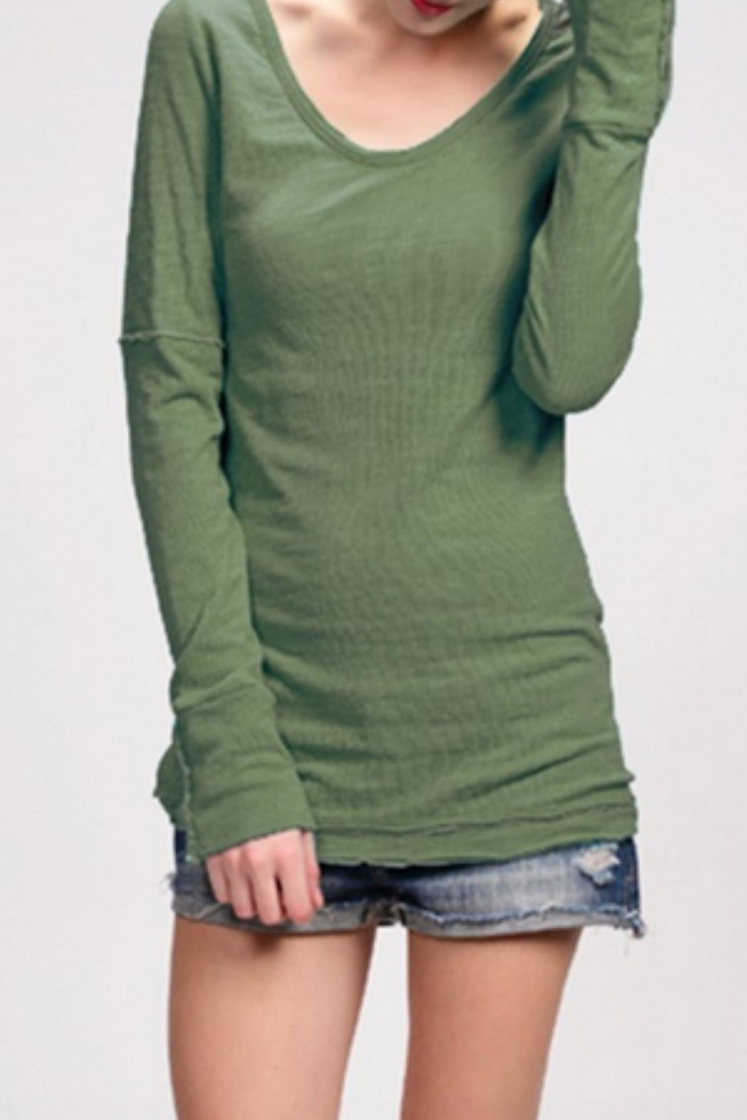 Able Pointelle v- Neck - Front Cropped Image