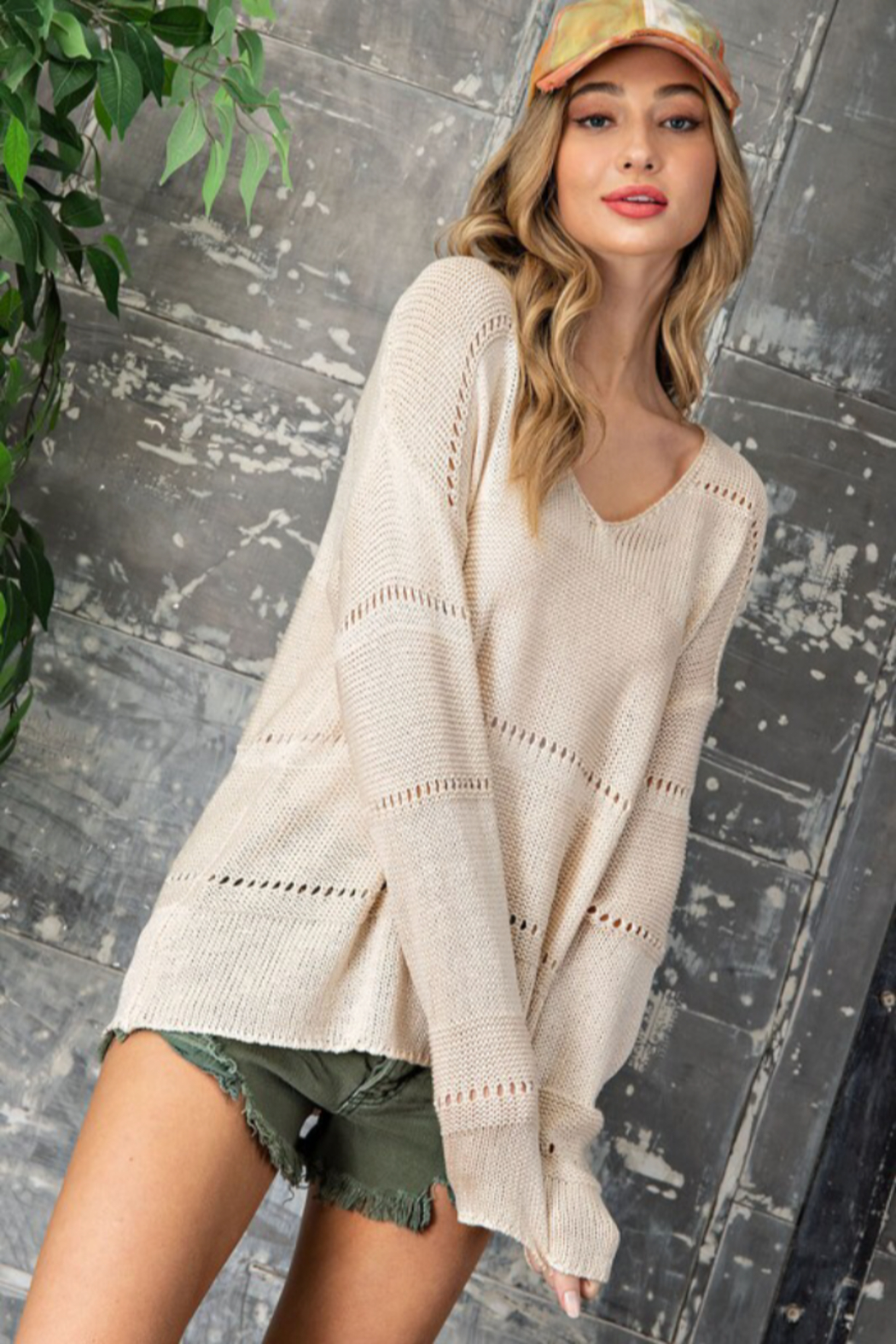 eesome Pointelle V Neck Sweater - Front Full Image