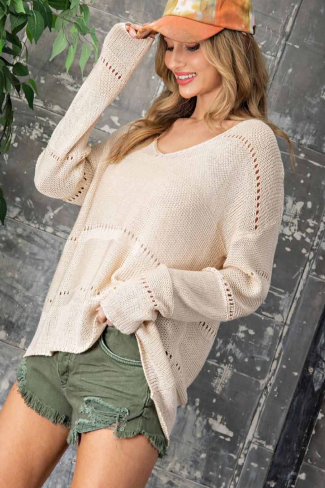eesome Pointelle V Neck Sweater - Main Image