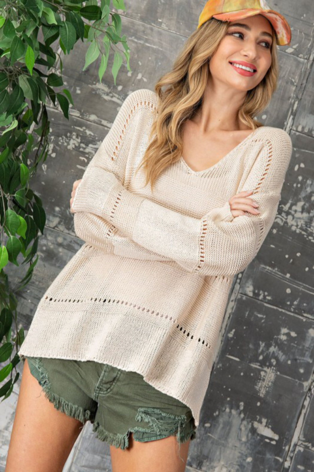 eesome Pointelle V Neck Sweater - Side Cropped Image
