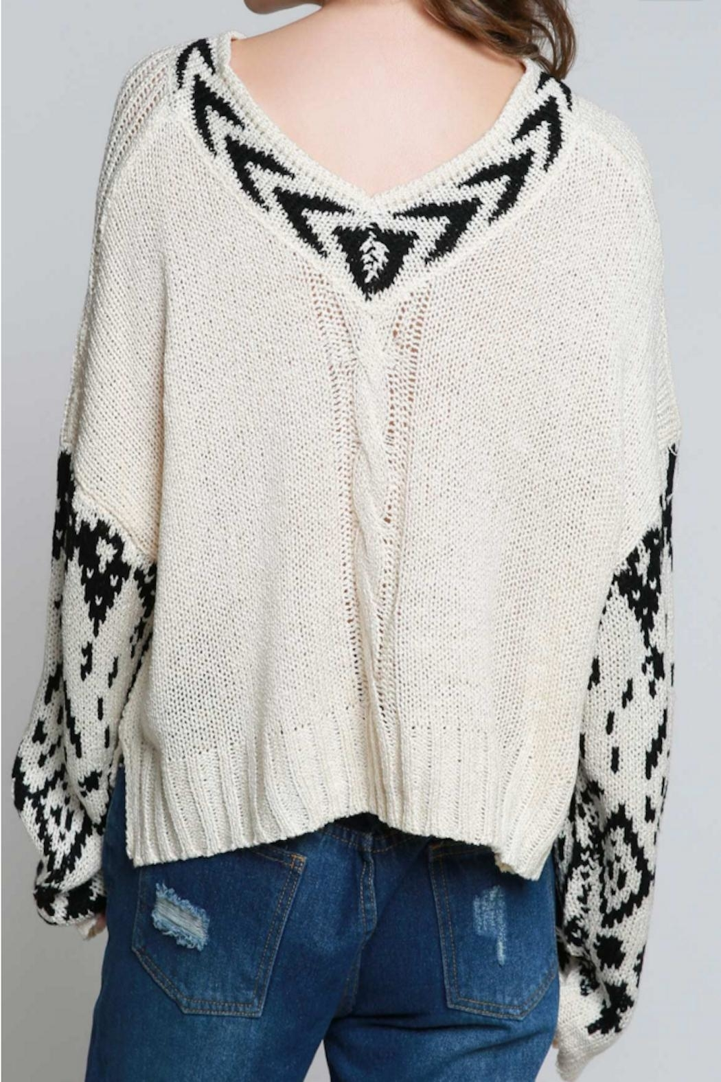 POL Aztec Crop Sweater - Front Full Image
