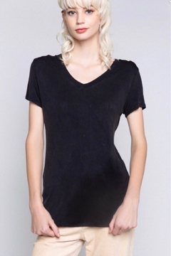 POL Basic Short Sleeve Vneck Tee Shirt - Black - Alternate List Image