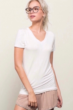 POL Basic Short Sleeve Vneck Tee Shirt - Ivory - Alternate List Image