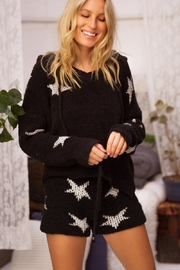 POL Berber Black And White Star Pullover - Front cropped