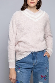POL Berber Pink And White Varsity Sweater - Product Mini Image