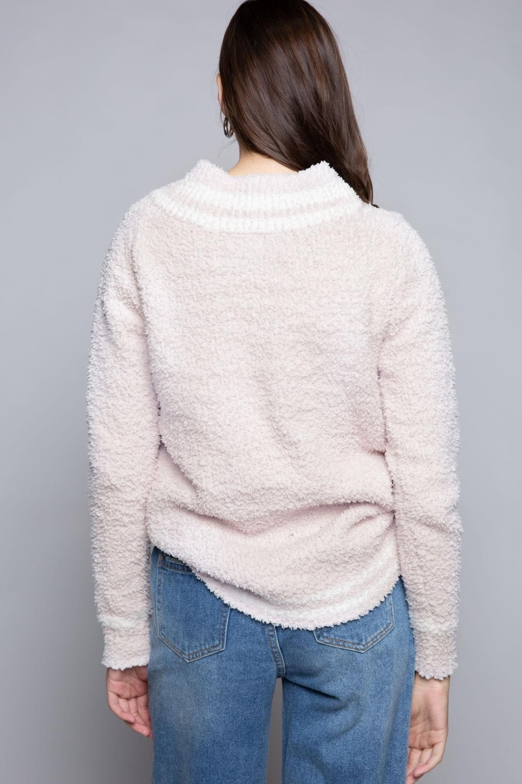 POL Berber Pink And White Varsity Sweater - Front Full Image