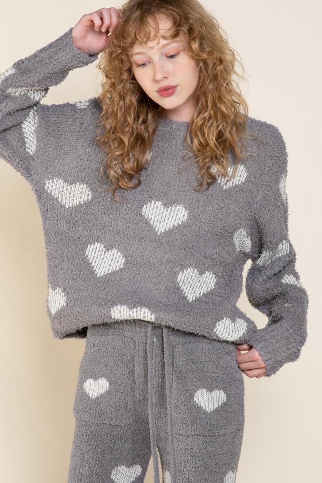 POL Berber White And Grey Heart Pulover - Front Full Image