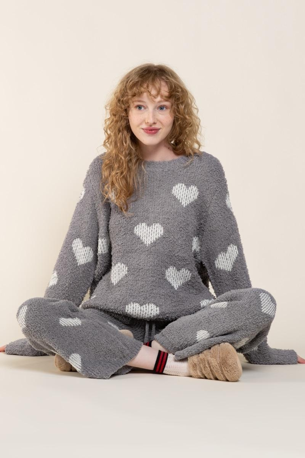 POL Berber White And Grey Heart Pulover - Main Image