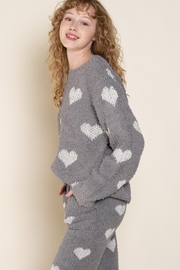 POL Berber White And Grey Heart Pulover - Side cropped