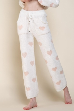 Shoptiques Product: Berber White And Pink Heart Pants