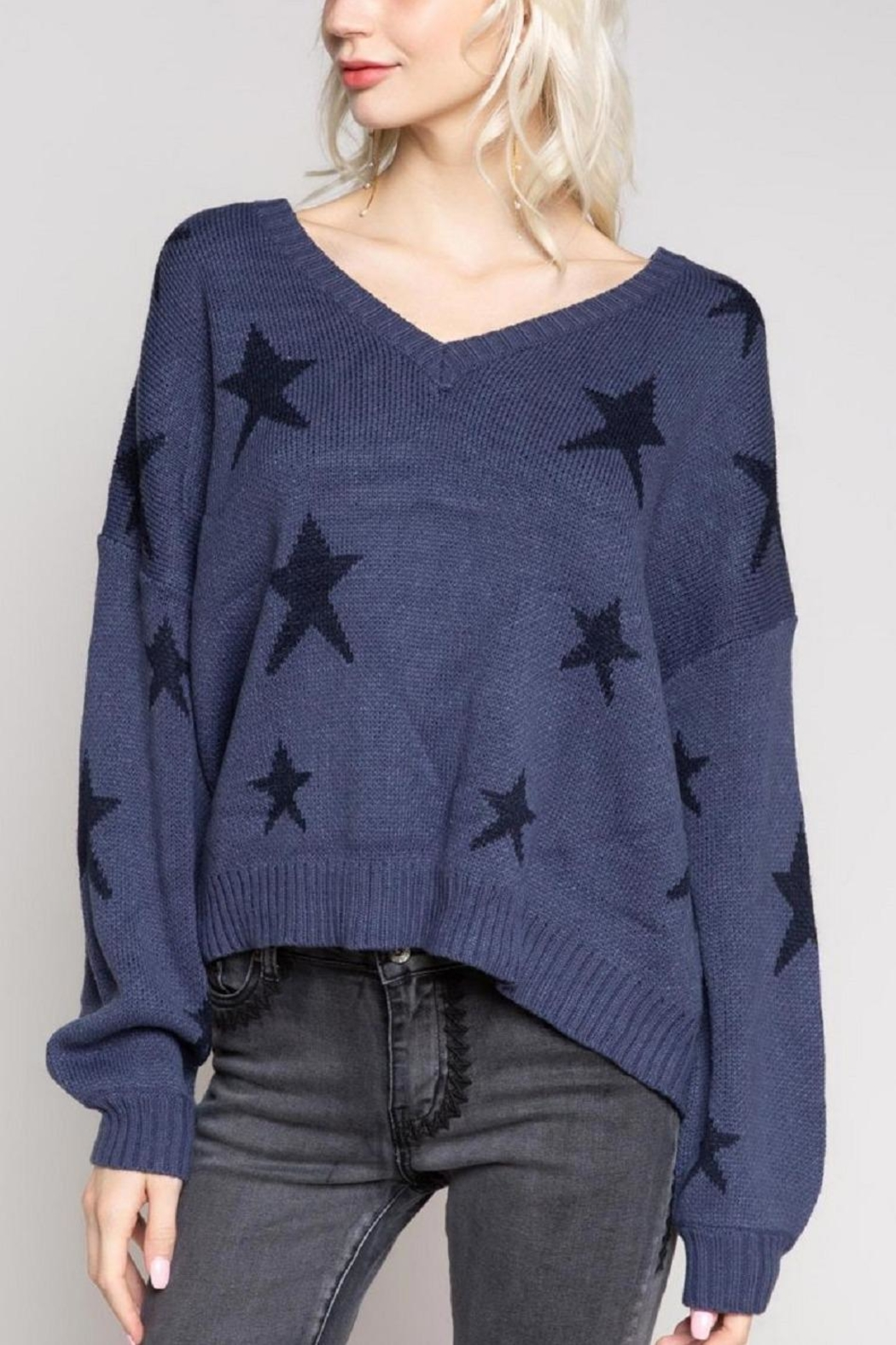 POL Big Dipper Star Sweater - Back Cropped Image