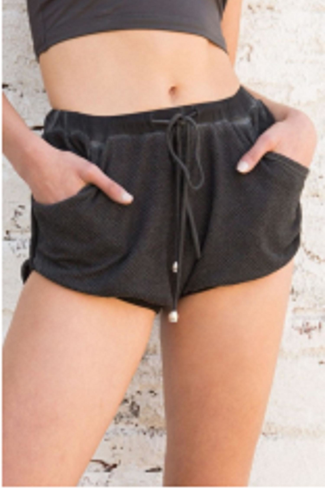 POL Black Lounge Shorts - Front Full Image