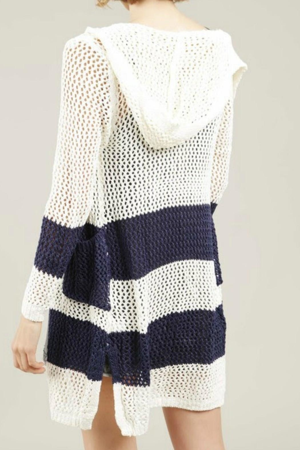 POL Blue Striped Hoodie Cardigan - Front Full Image