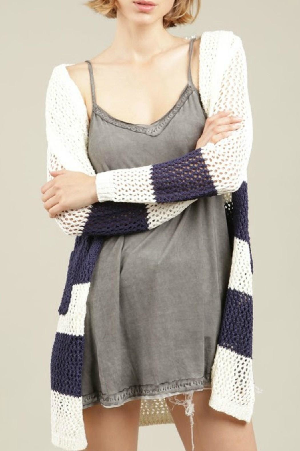 POL Blue Striped Hoodie Cardigan - Main Image