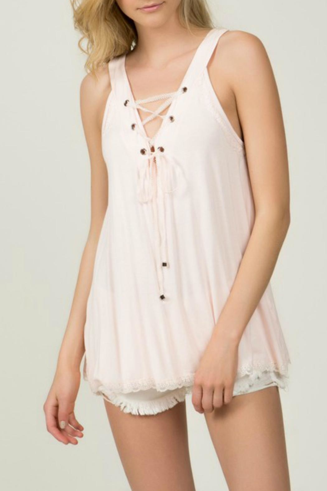 POL Blush Lace-Up Top - Front Full Image