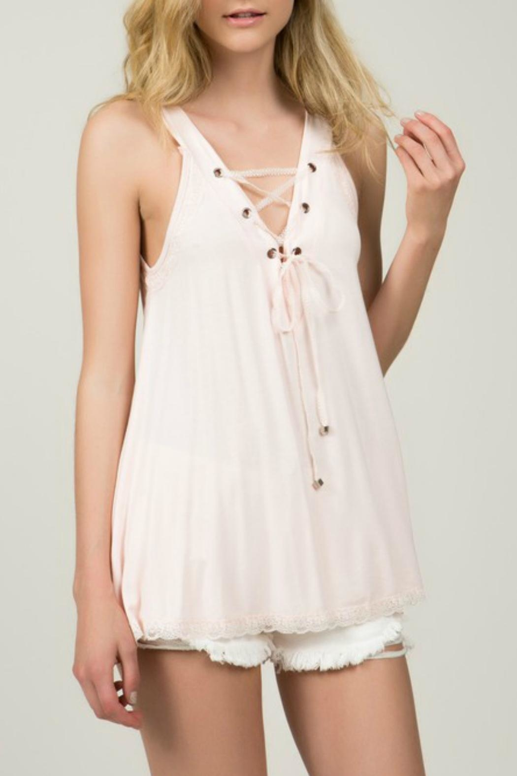 POL Blush Lace-Up Top - Side Cropped Image