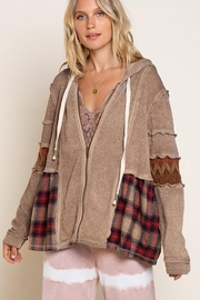 POL Boho Knit Hood Jacket Plaid Accents - Front cropped