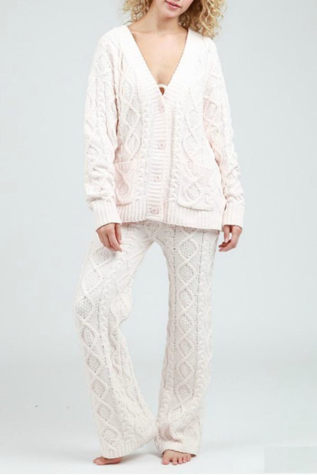POL Cable Knit Cardigan - Back Cropped Image