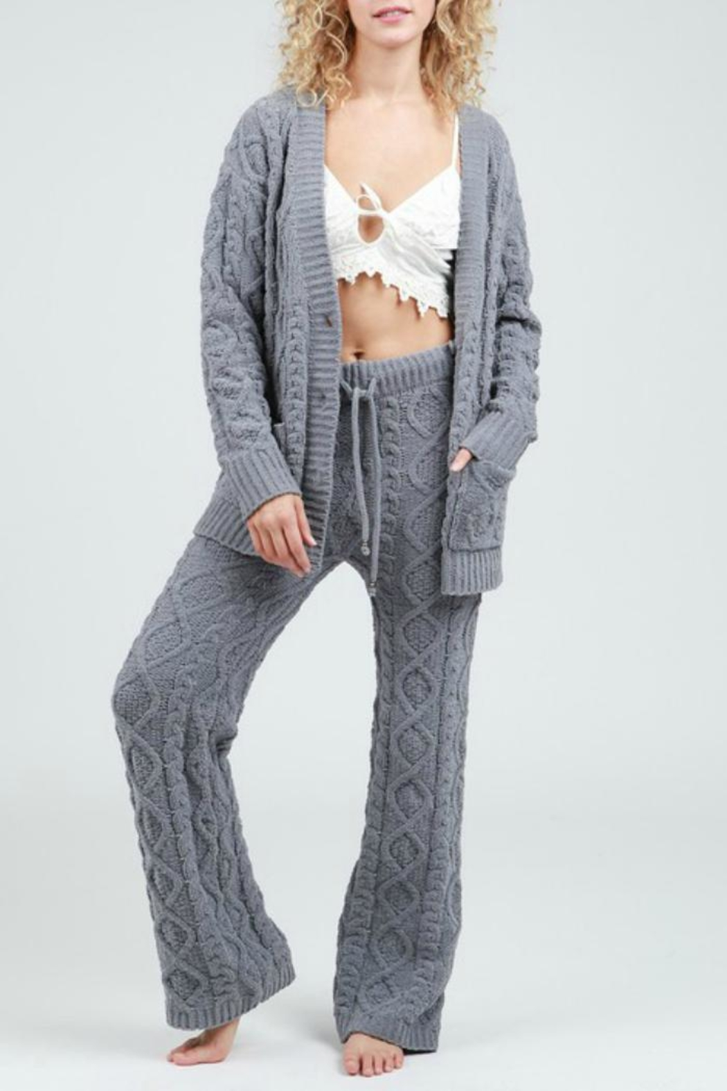 POL Cable Knit Pant - Side Cropped Image