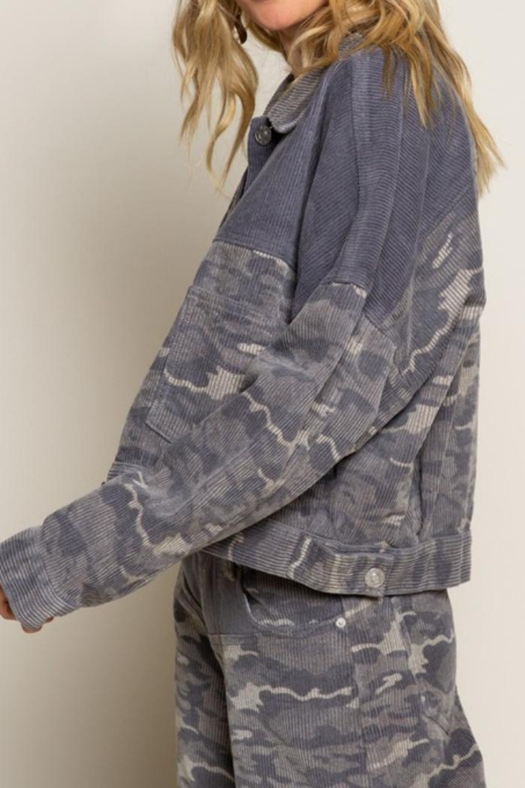 POL Camo Cord Jacket - Front Full Image