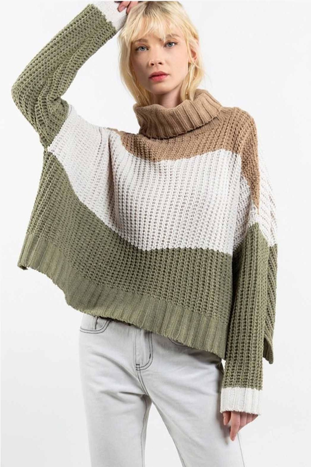 POL Colorblock Sweater - Front Full Image
