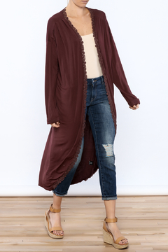 Shoptiques Product: Burgundy Crochet Trim Cardigan