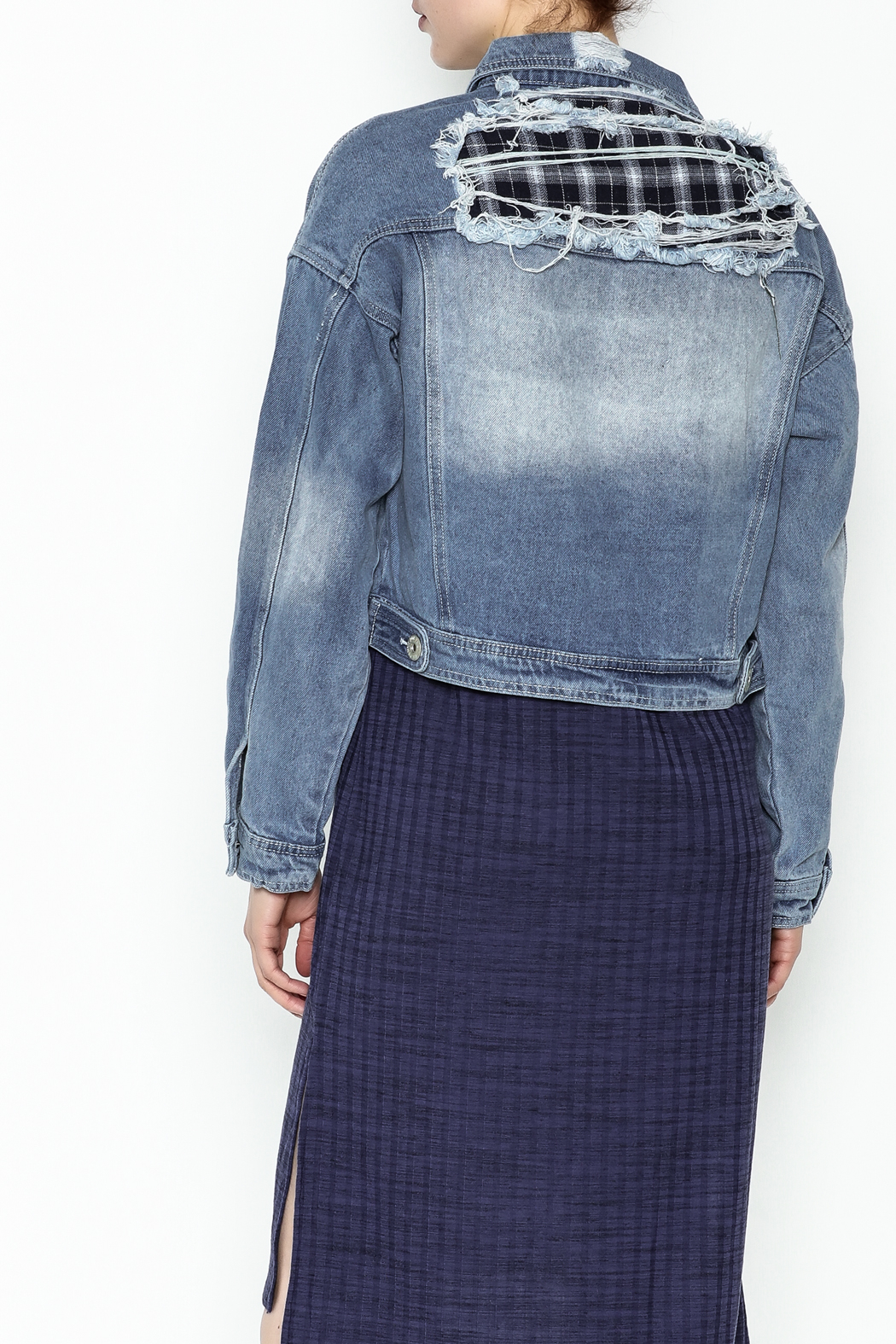 POL Cropped Denim Jacket - Back Cropped Image