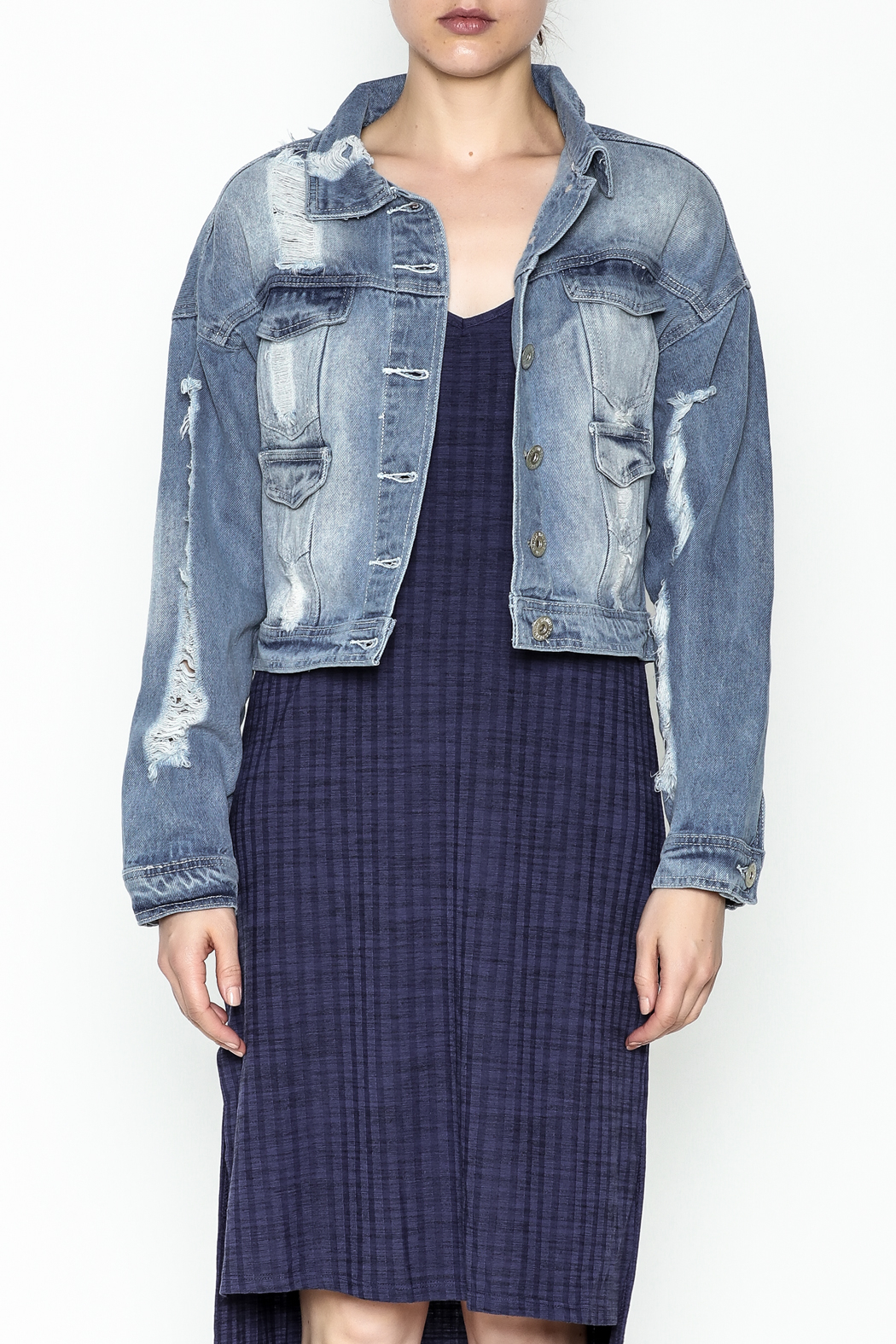 POL Cropped Denim Jacket - Front Full Image