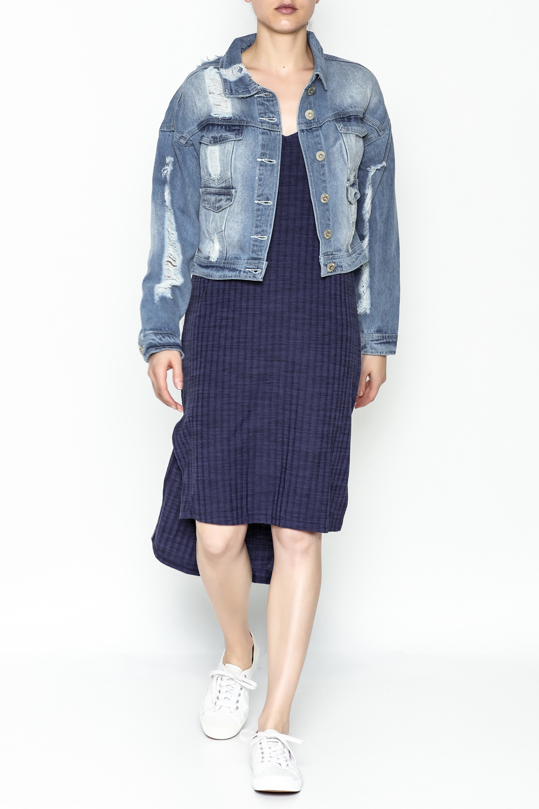 POL Cropped Denim Jacket - Side Cropped Image