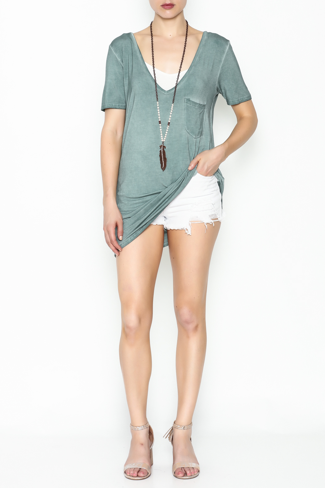 POL Deep V Tee - Side Cropped Image