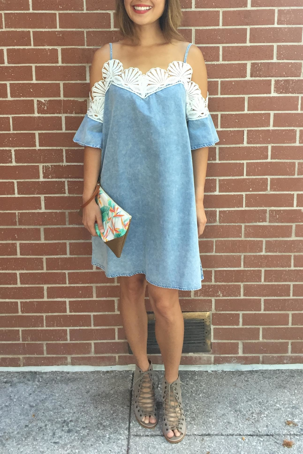 POL Denim Seashell Dress - Main Image