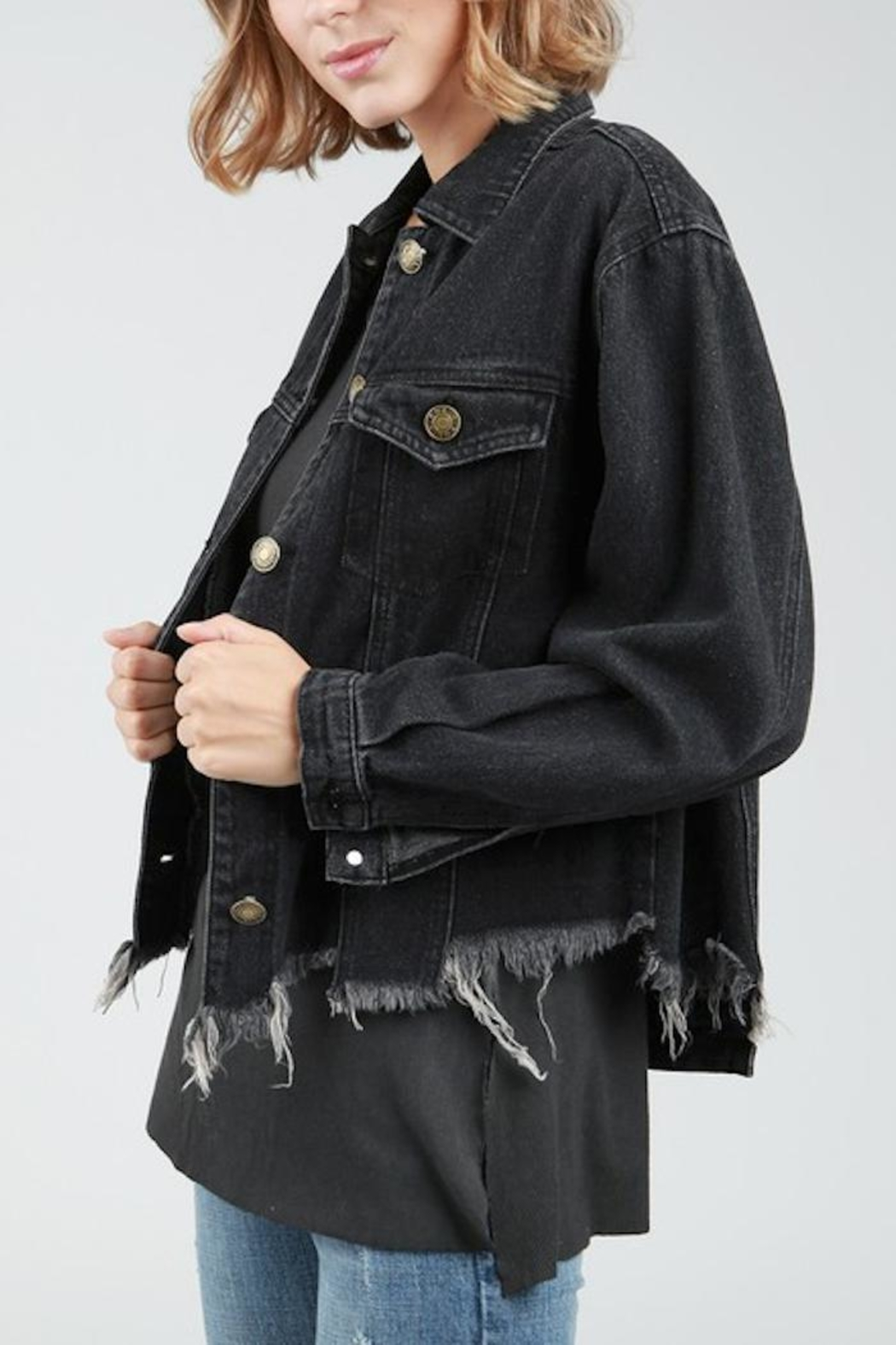 POL Destucted Denim Jacket - Front Full Image