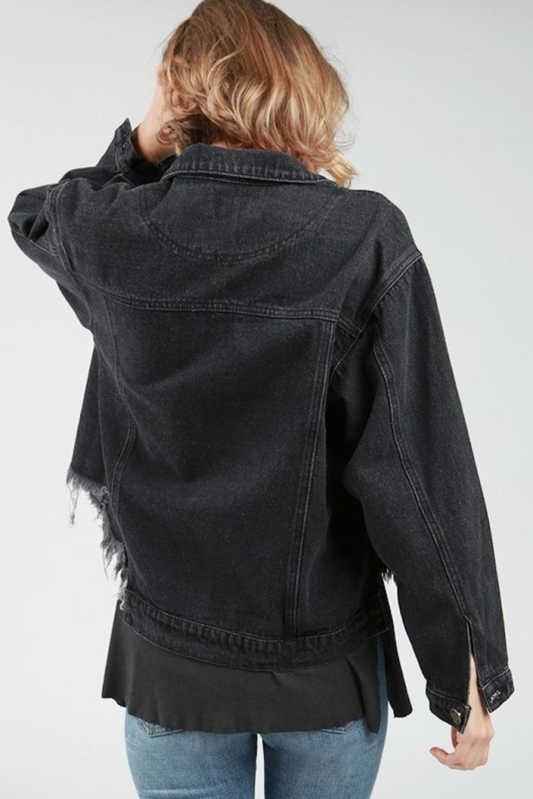 POL Destucted Denim Jacket - Side Cropped Image