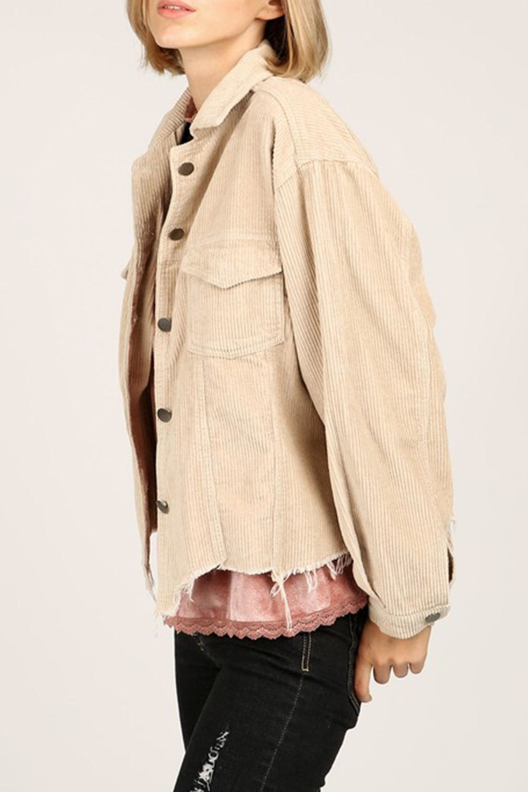 POL Distressed Corduroy Jacket - Front Cropped Image