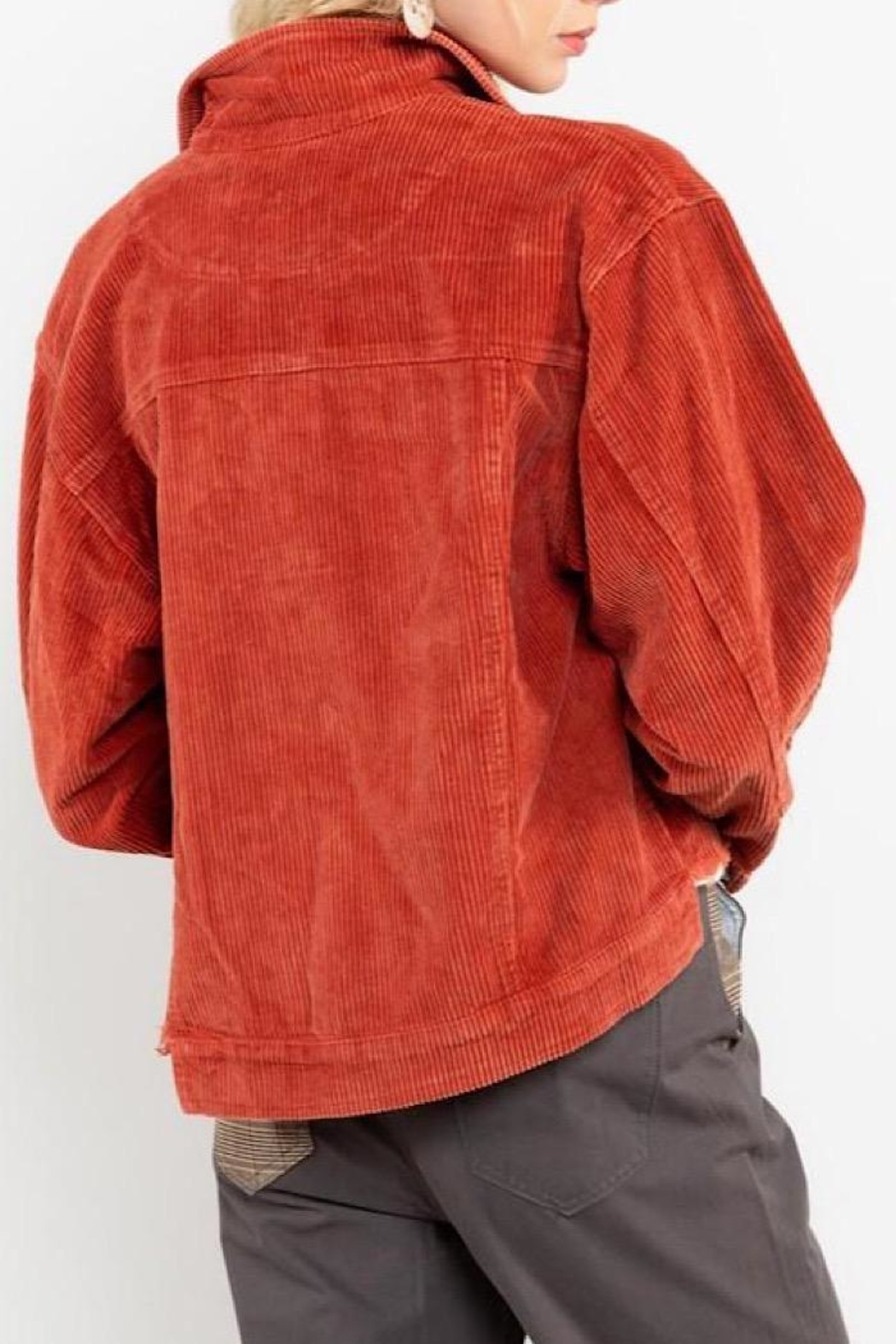 POL Distressed Corduroy Jacket - Front Full Image