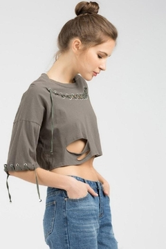 POL Distressed Cropped Top - Product List Image