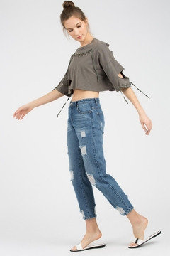 POL Distressed Cropped Top - Alternate List Image