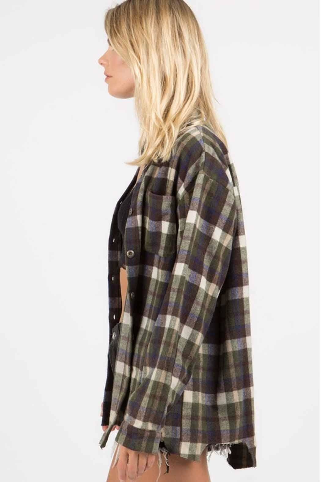 POL Distressed Flannel - Back Cropped Image