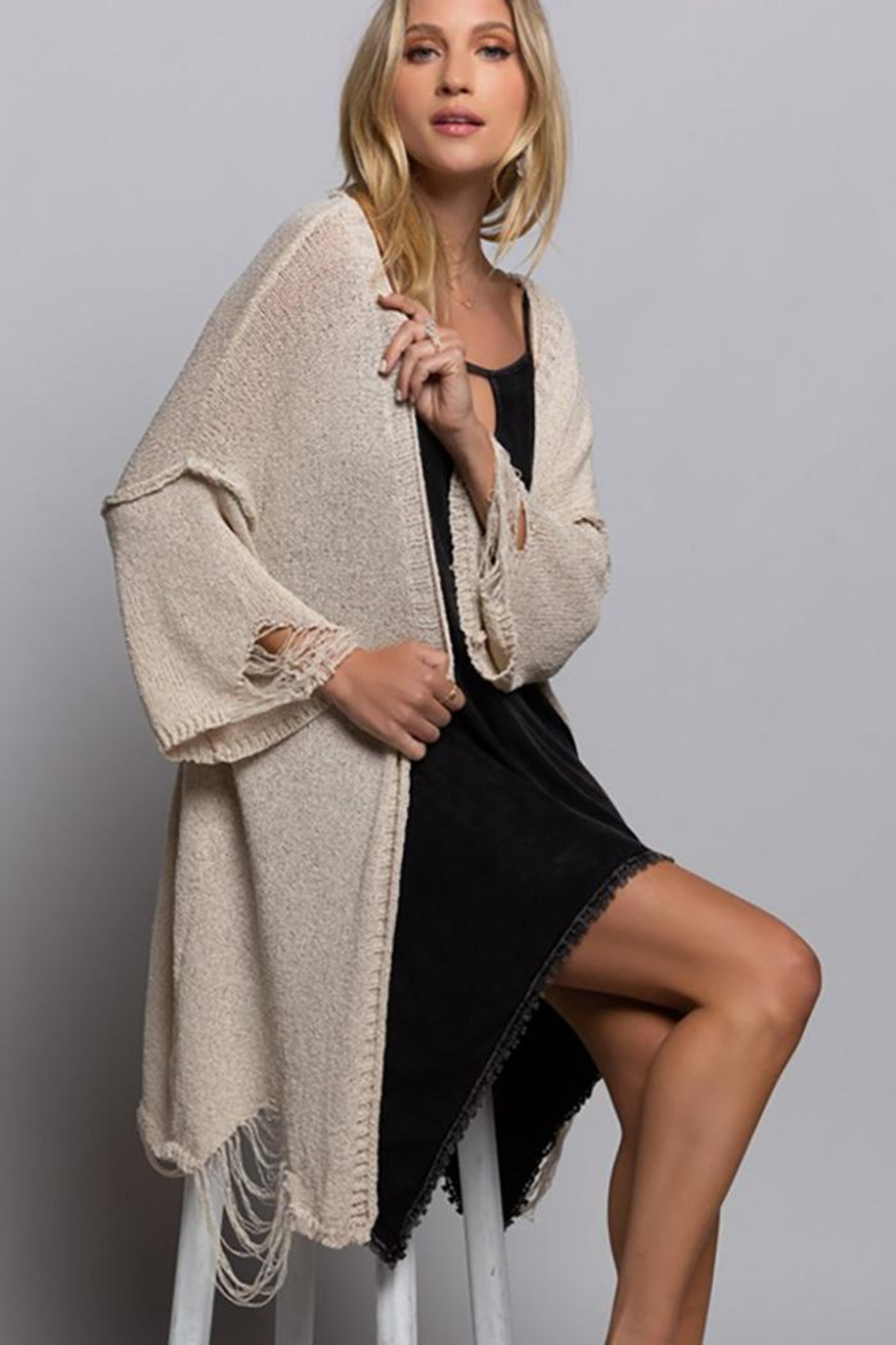 POL Distressed Maxi Sweater Kimono Cardigan - Front Cropped Image