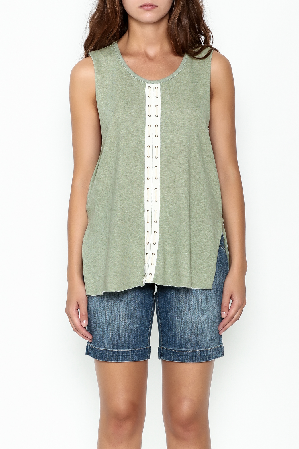 POL Eyelet Muscle Tee - Front Full Image