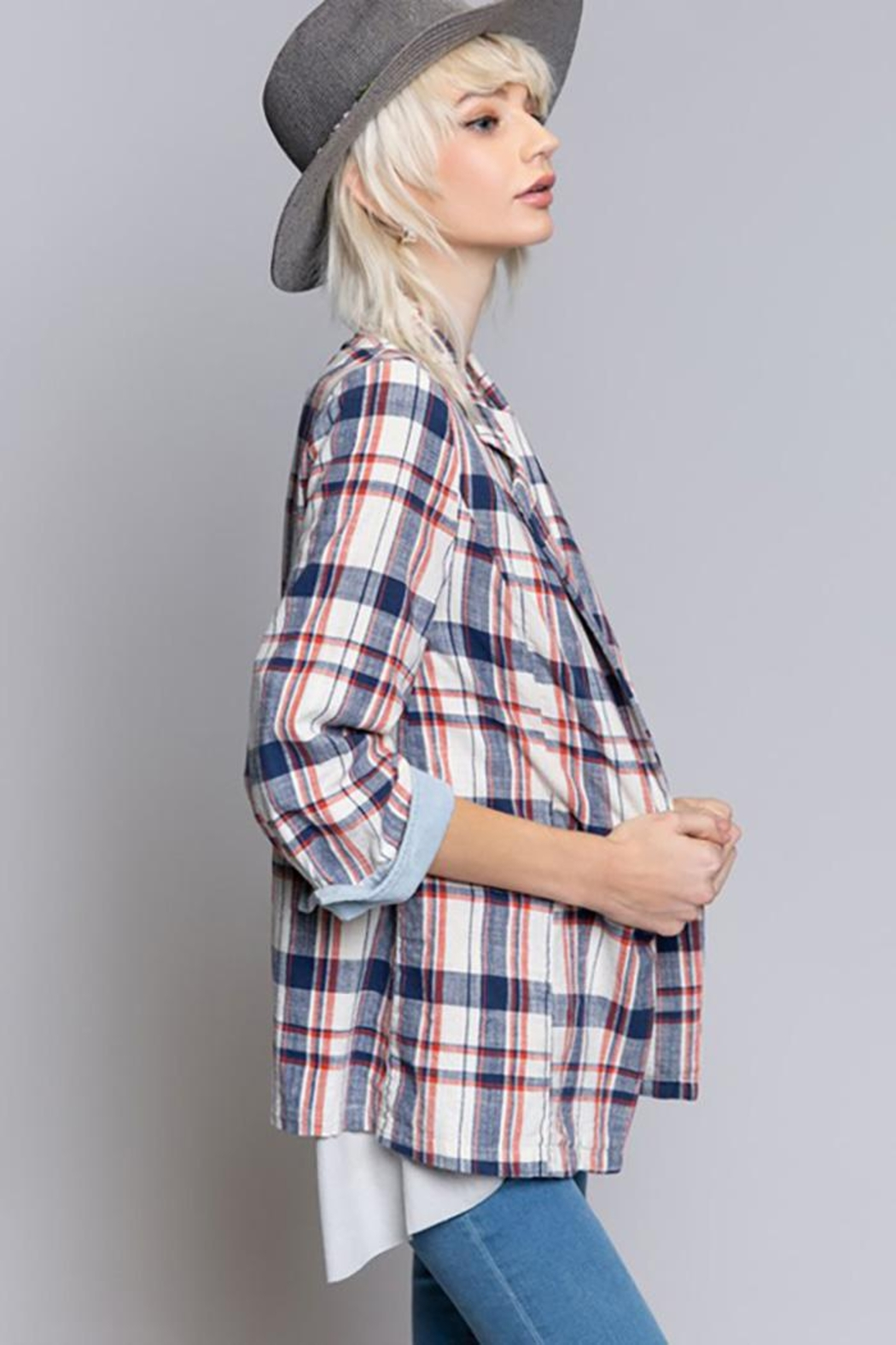 POL Flannel Plaid Jacket - Side Cropped Image