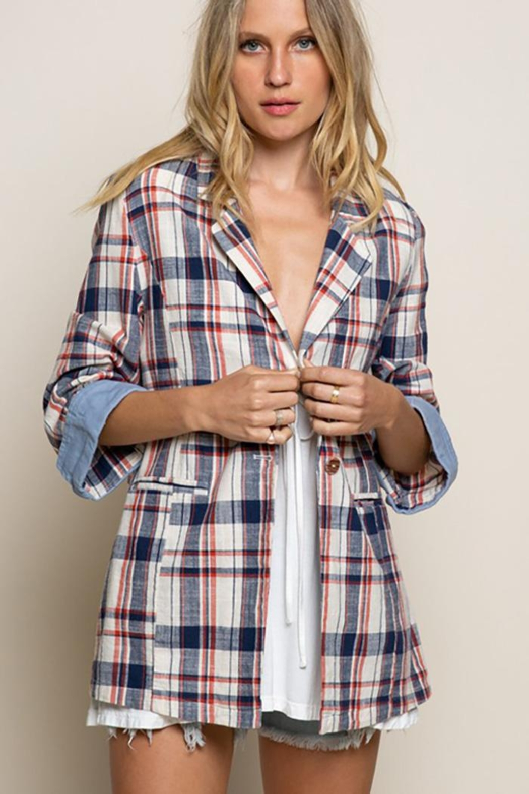 POL Flannel Plaid Jacket - Front Cropped Image