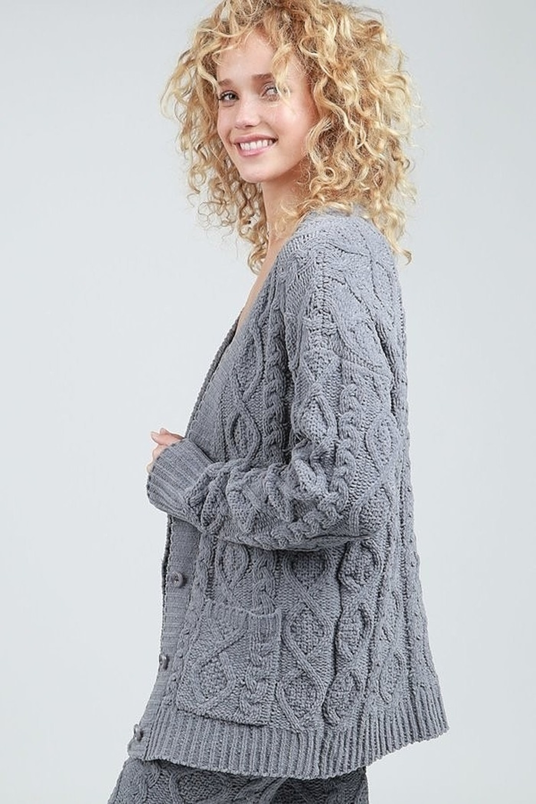 POL Fleece Sweater Cardigan - Side Cropped Image