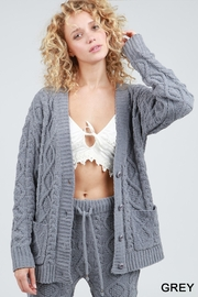 POL Fleece Sweater Cardigan - Front cropped