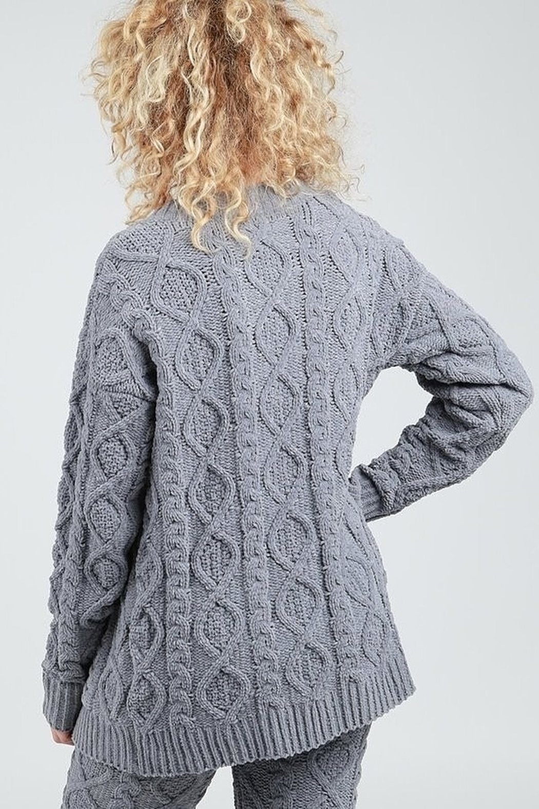 POL Fleece Sweater Cardigan - Front Full Image