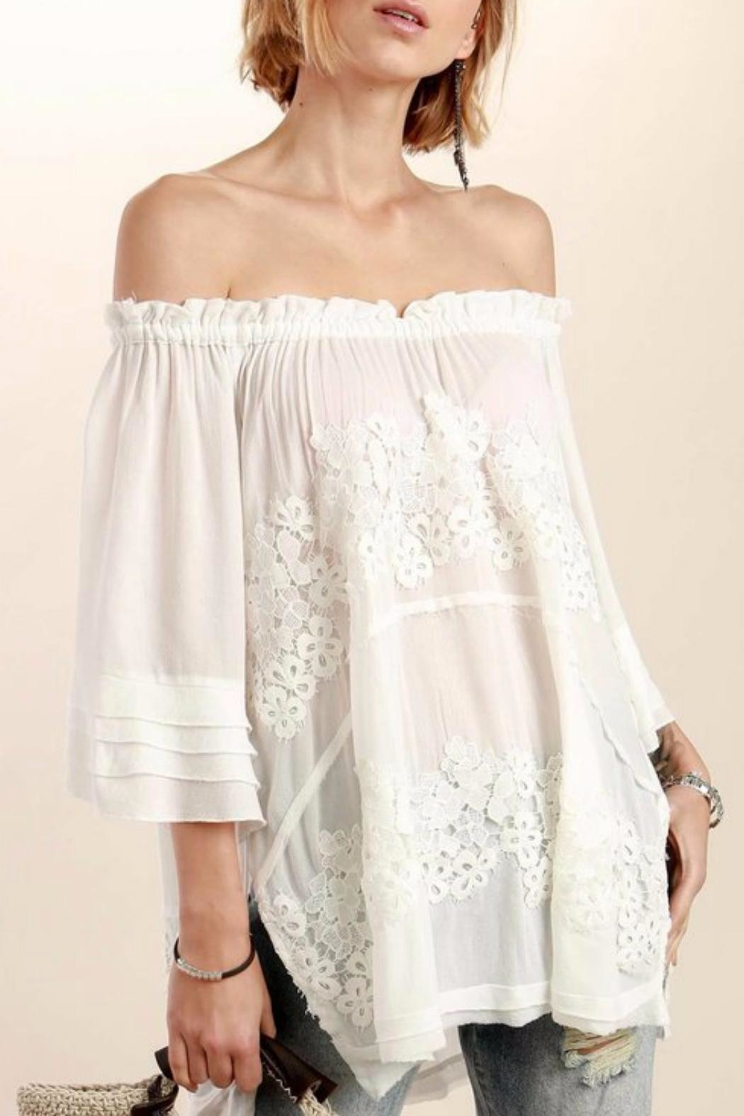 POL Floral Crochet Tunic - Front Cropped Image