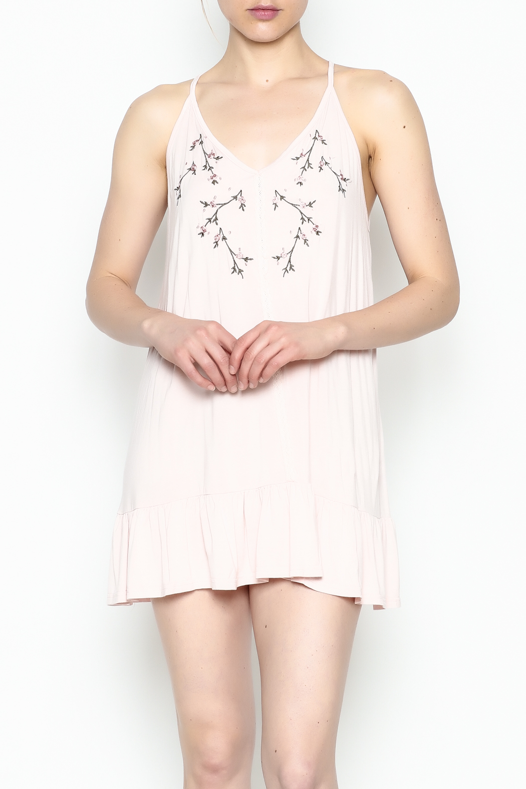POL Floral Embroidered Tunic - Front Cropped Image
