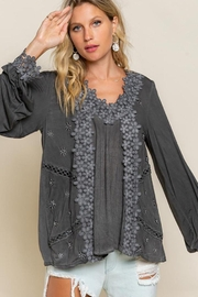 POL Floral Embroidery Woven Top - Product Mini Image