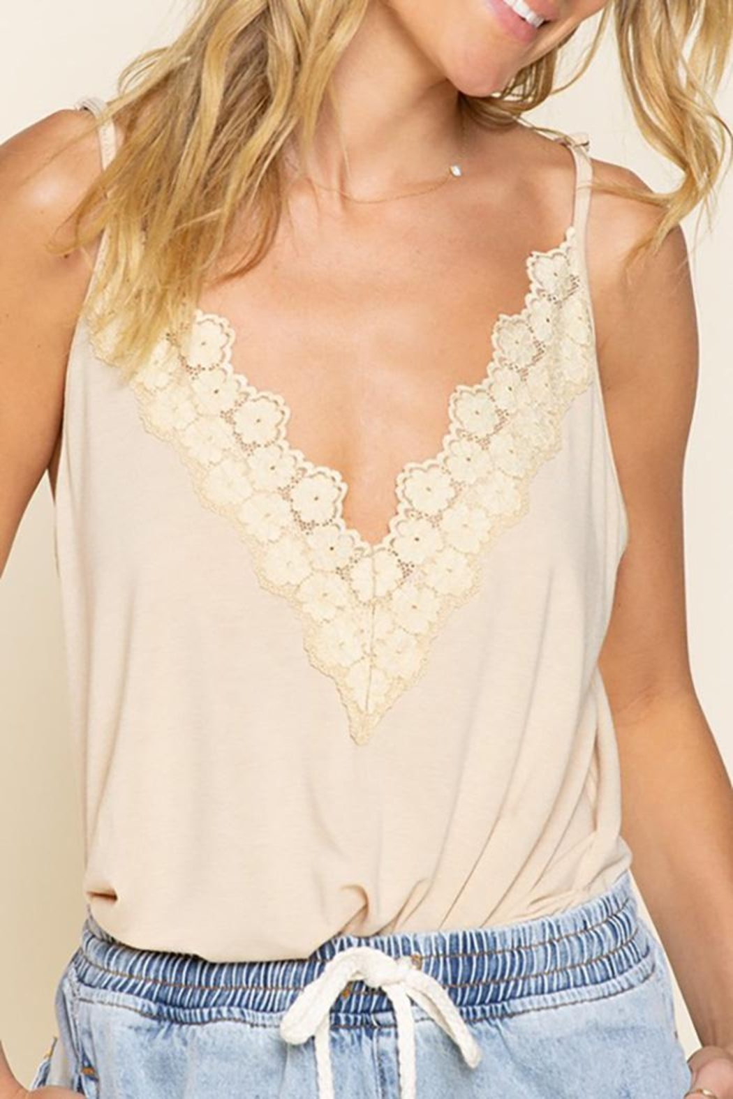 POL Flower Knit  Camisol Top - Front Cropped Image