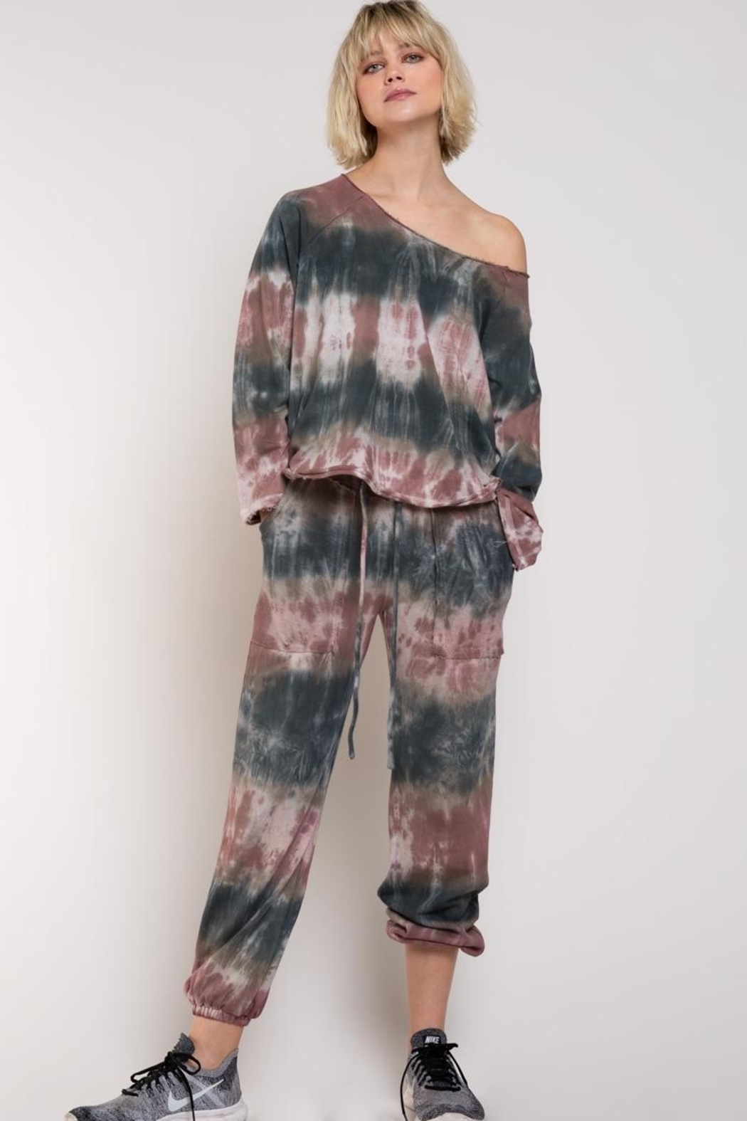 POL French Terry Tie Dye Joggers - Side Cropped Image